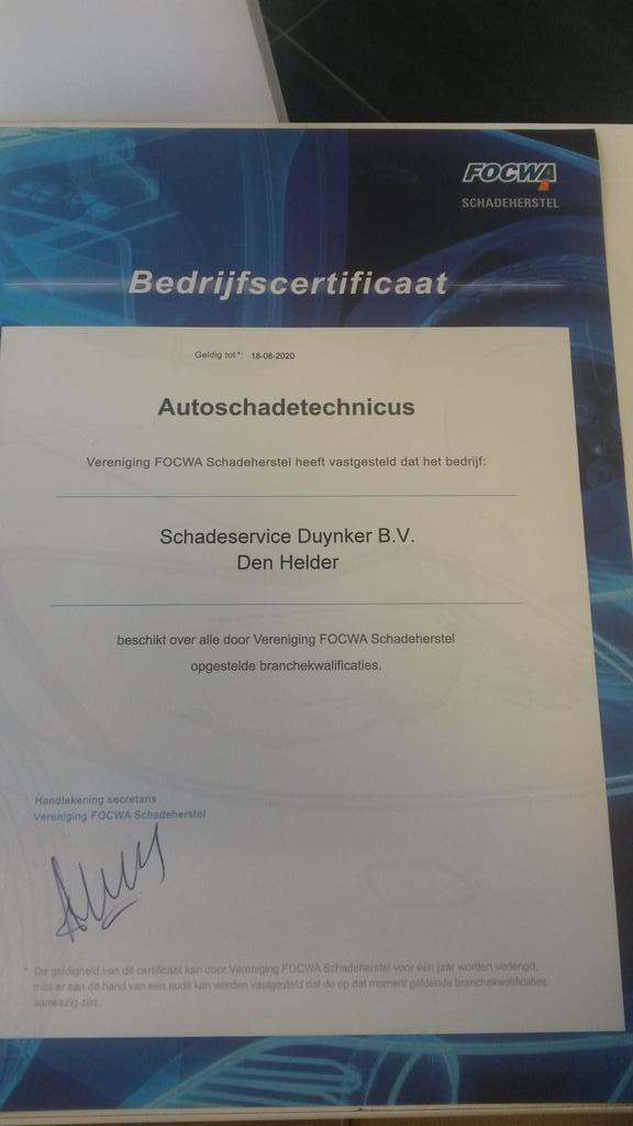 Certificaat autoschade technicus